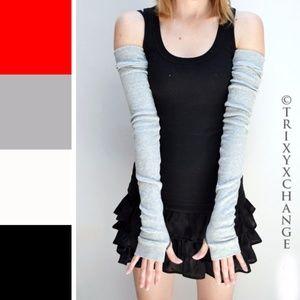 Trixy Xchange Long Gray Cotton Winter Armwarmers